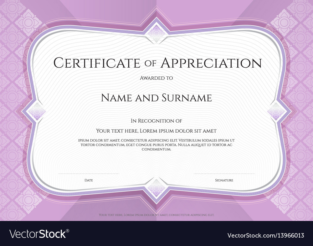 Certificate of appreciation template in with vector image