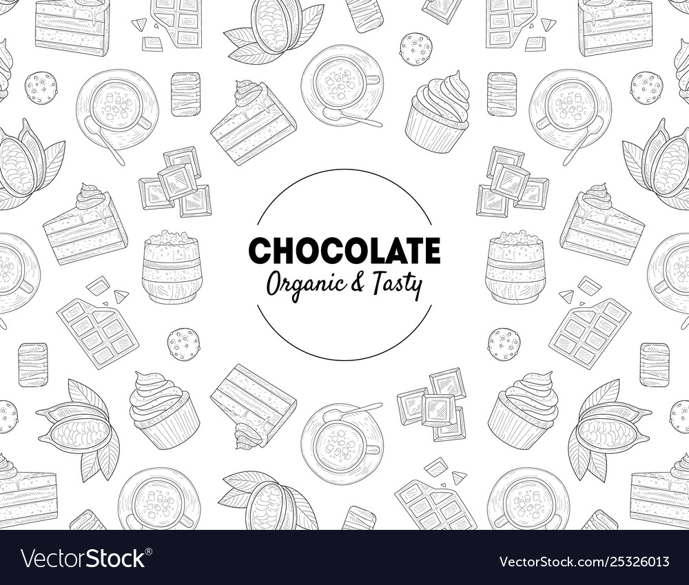 Chocolate organic and tasty banner template with
