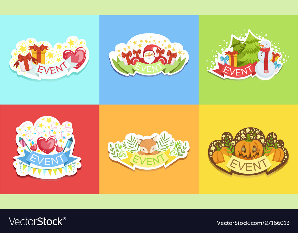 Cute holiday stickers set prints for cards
