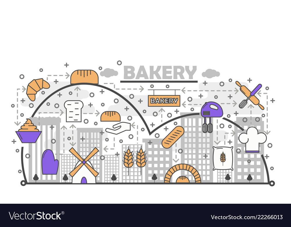 Dynamic bread baking process with line art flat