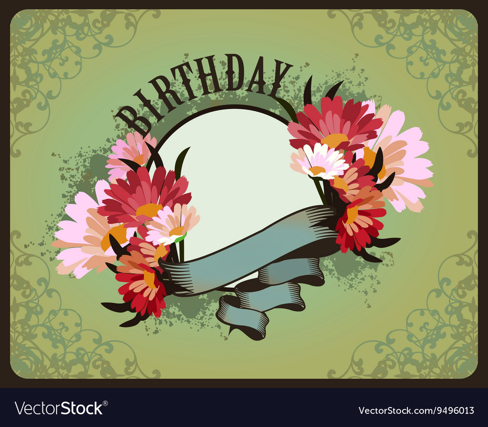Greeting card birthday vector image