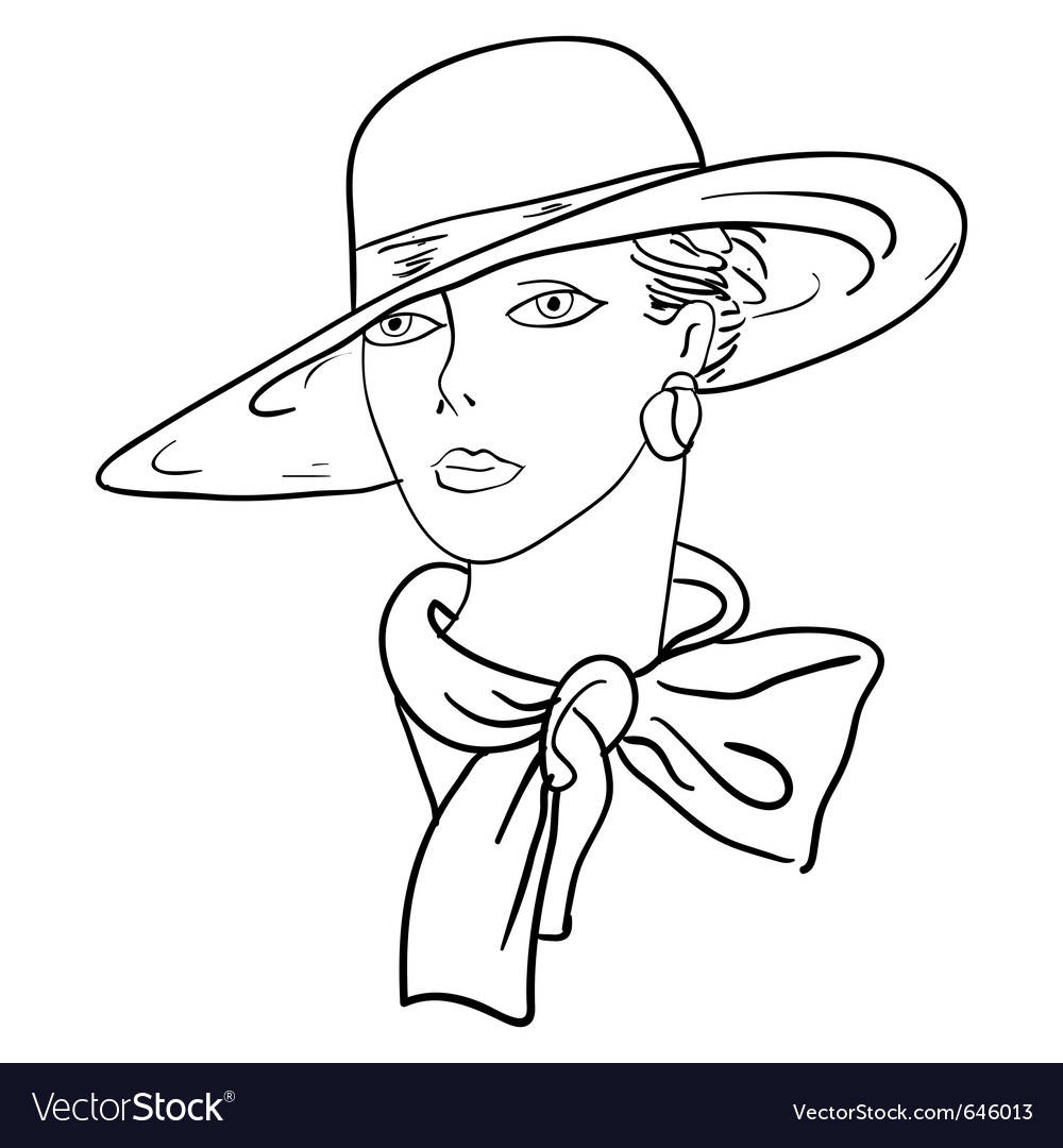 hand drawn fashion model womans face a hat vector image