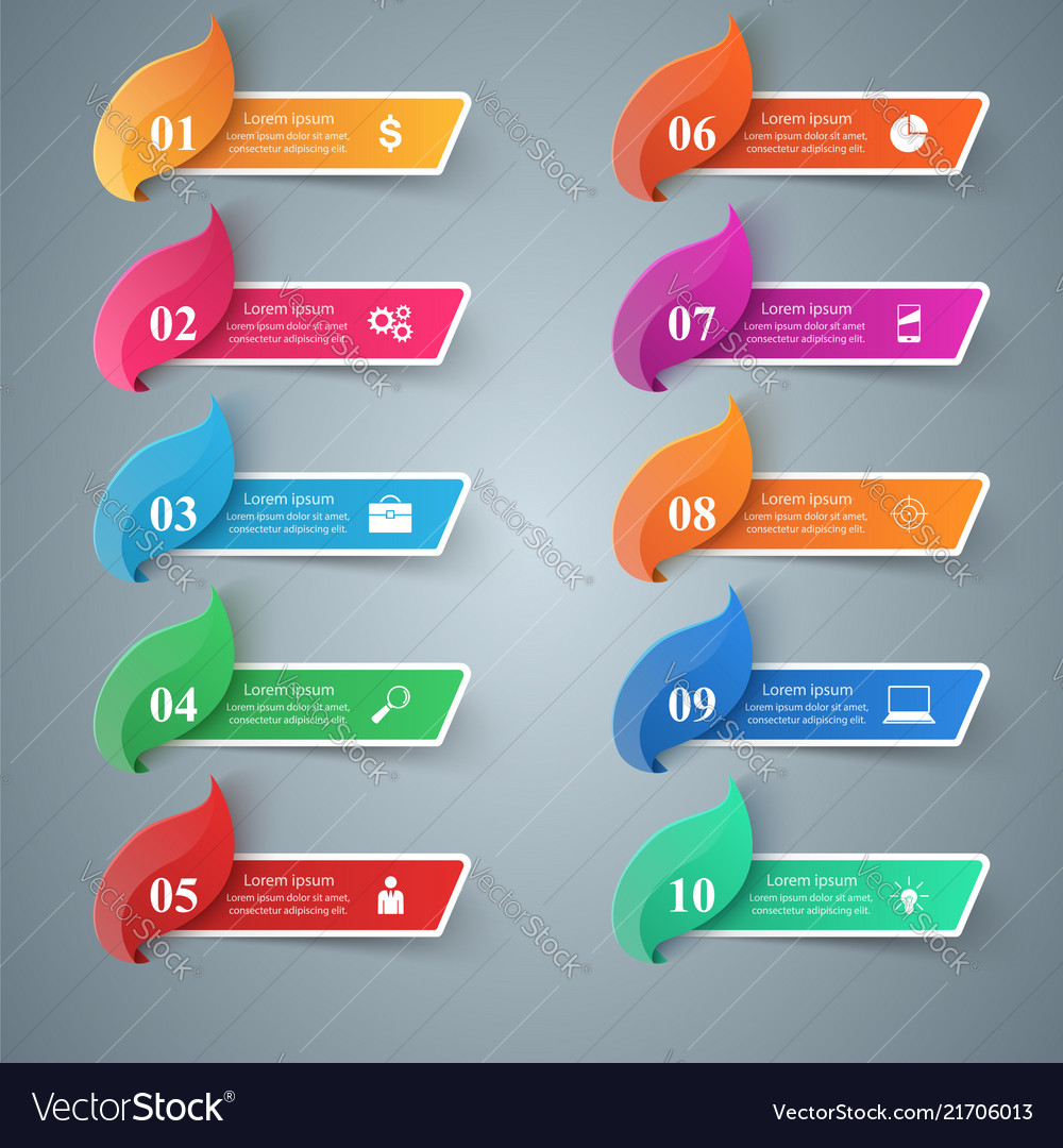 Paper business infographic leaf icon ten items