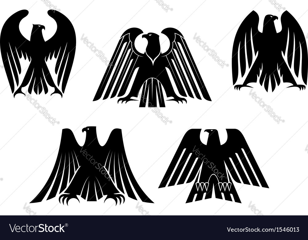 Silhouettes of eagles