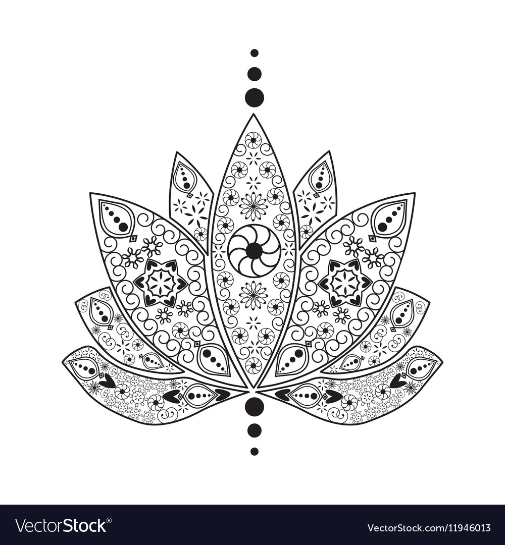 Tattoo Element Henna Lotus Royalty Free Vector Image
