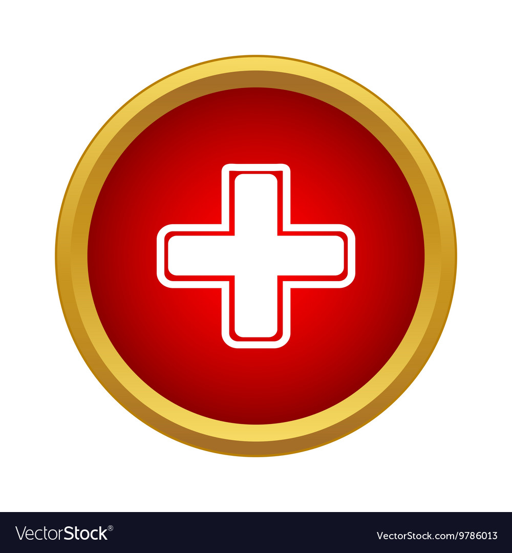 White cross on red background icon simple style