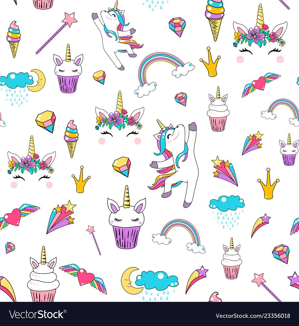 Cute unicorn seamless pattern background