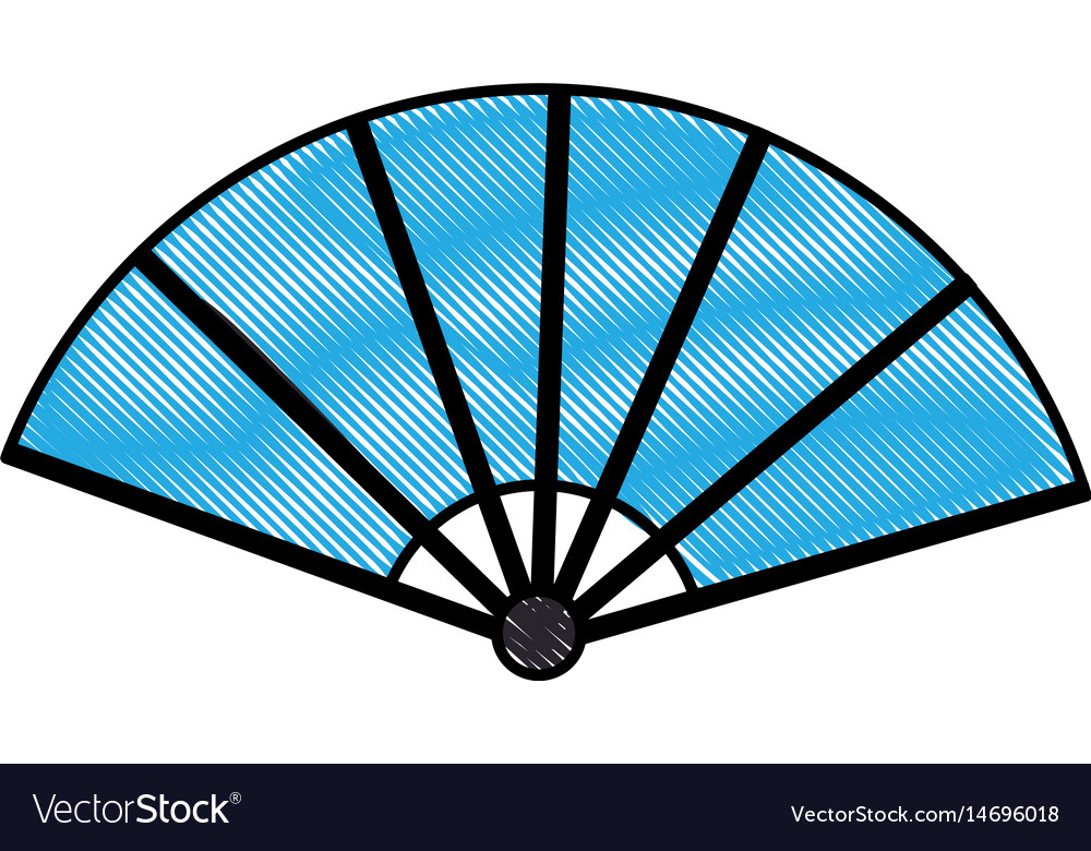 Drawing japanese fan folding ornament traditional
