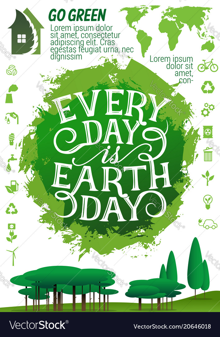 Earth Day Banner With Ecology Protection Icon Vector Image