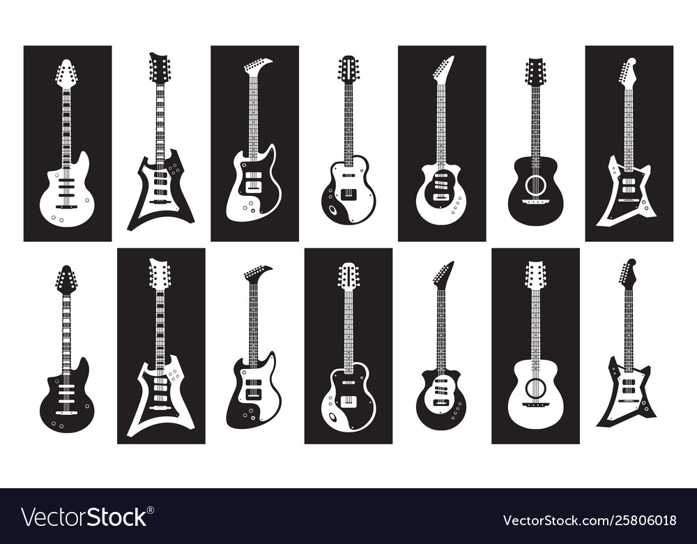 Guitars black and white electric and acoustic