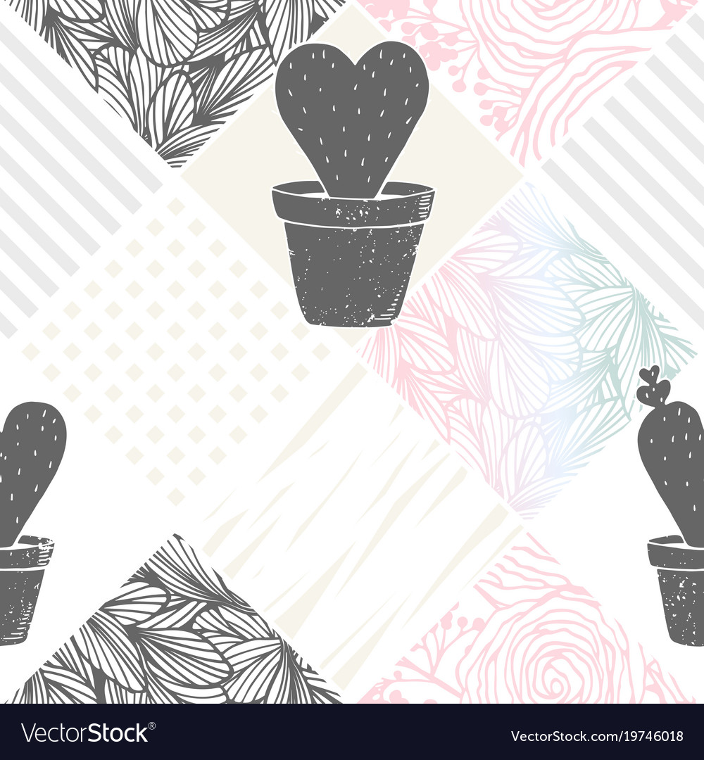 Hand drawn floral patchwork seamless pattern with