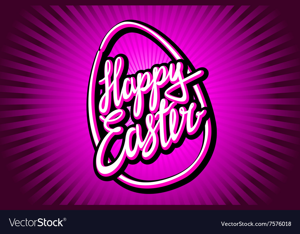 Happy Easter trendy hipster hand-written line