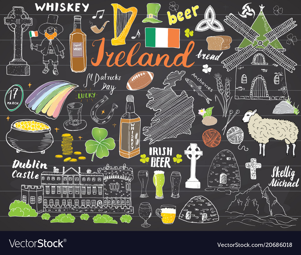 Ireland sketch doodles hand drawn irish elements vector image