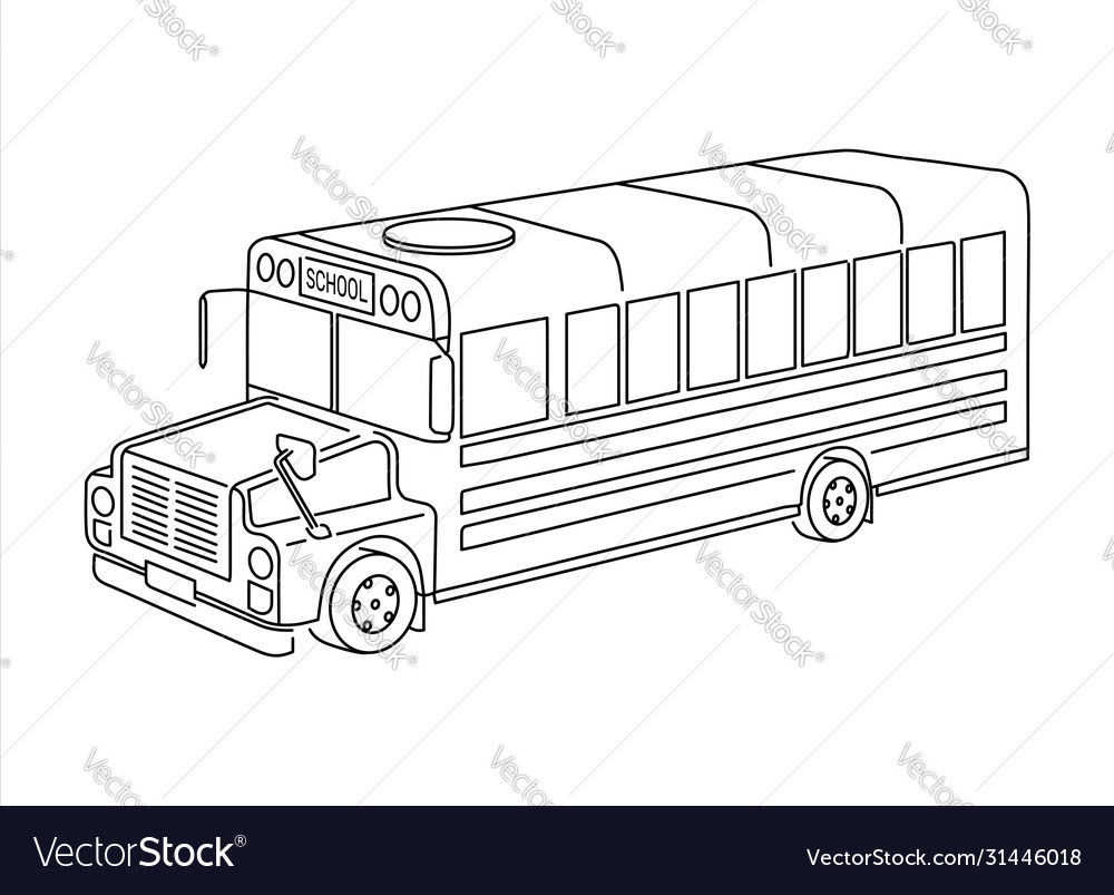 Kids school bus outline isometric 3d view grungy