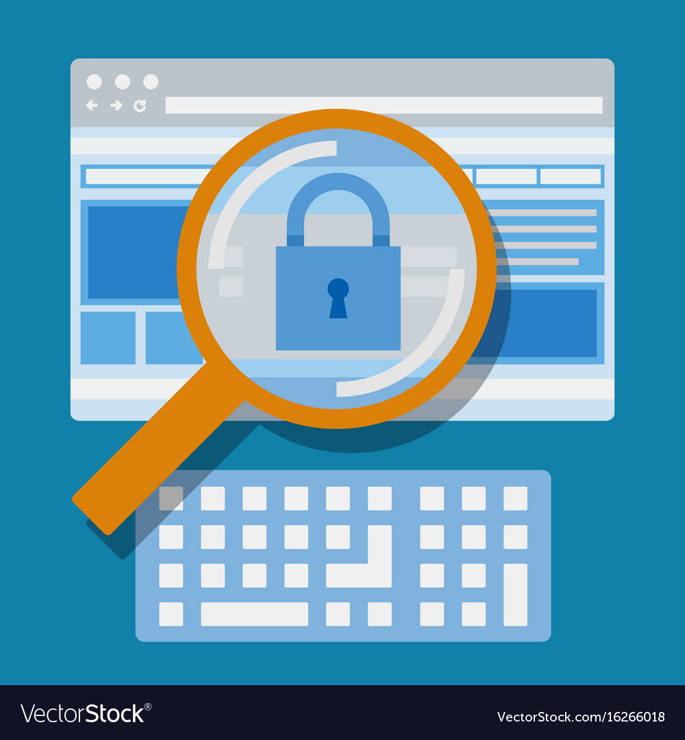 Magnifying website internet security vector image