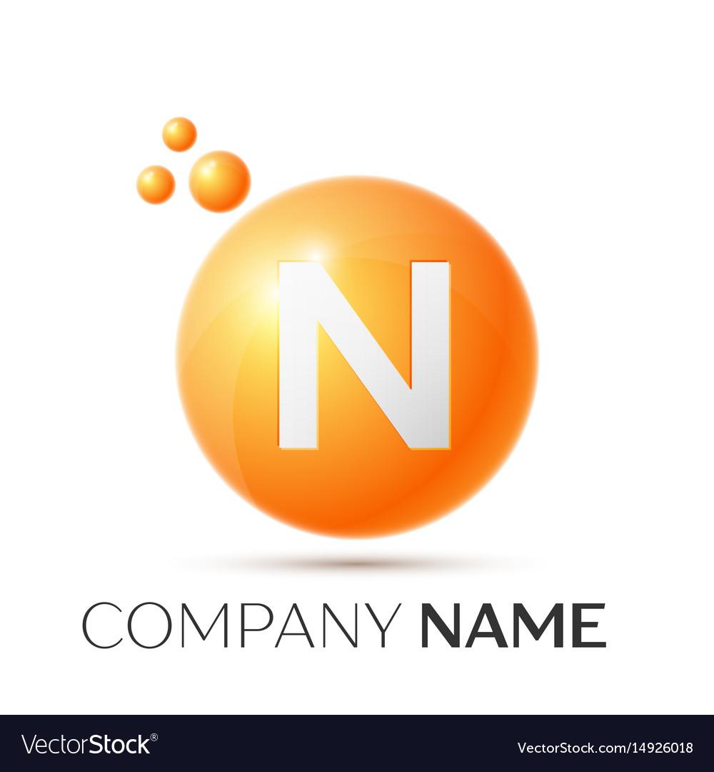 N letter splash orange dots and circle bubble