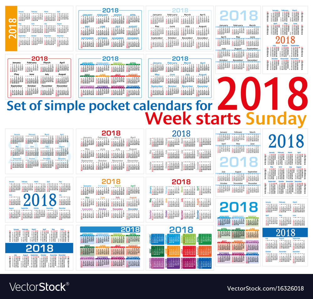 Set of simple pocket calendars for 2018 two