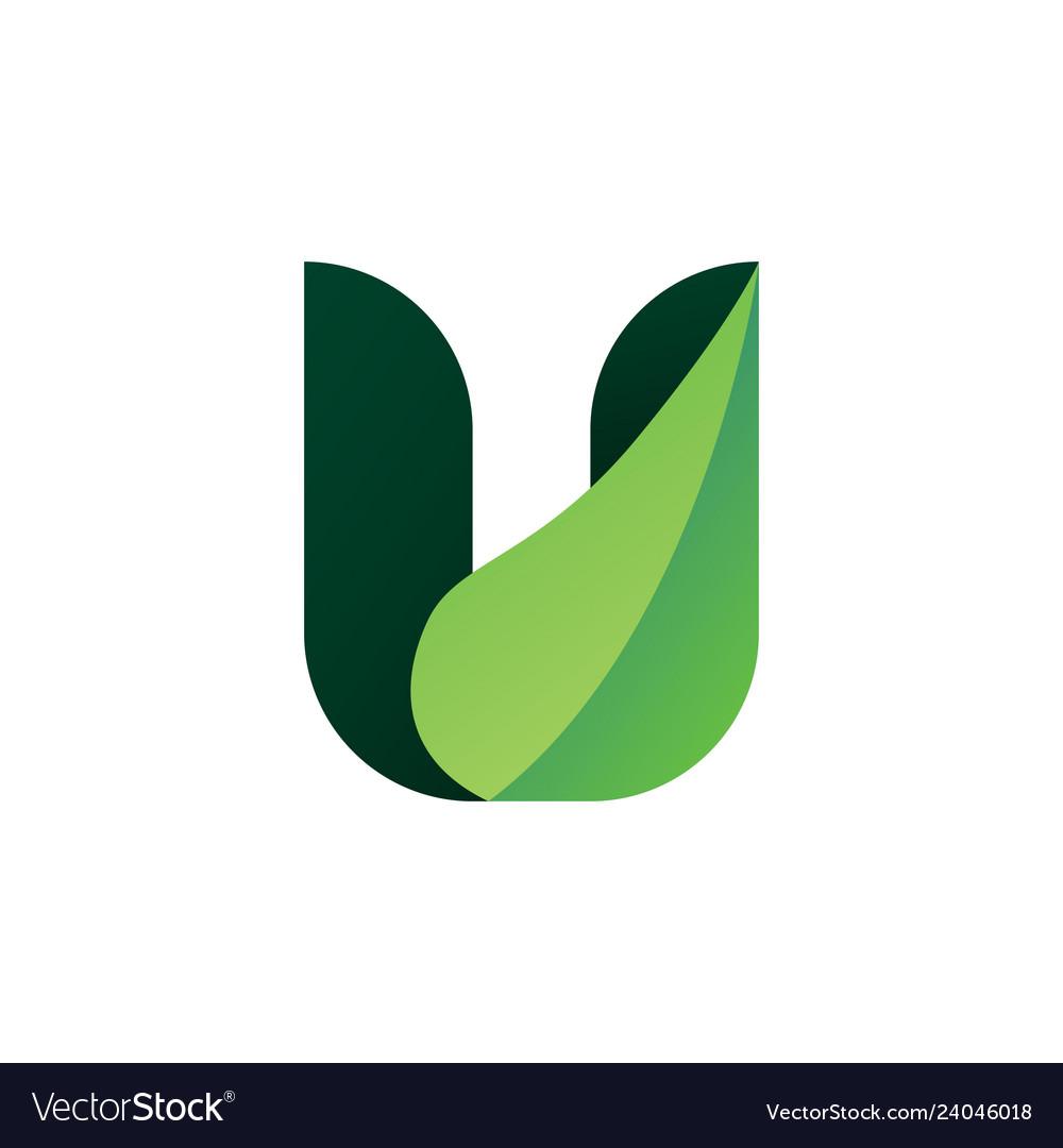 U leaf letter logo icon