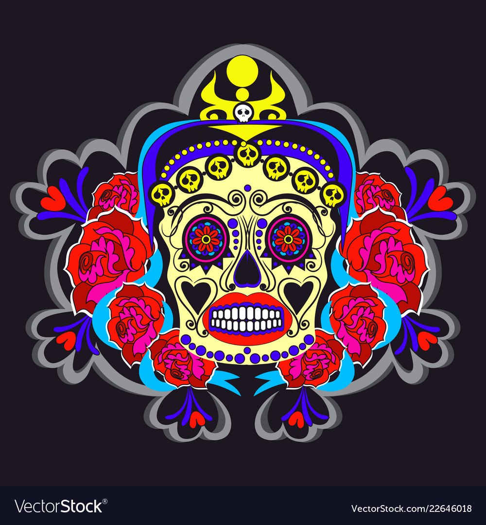 Woman sugar skull with floral ornaments poster