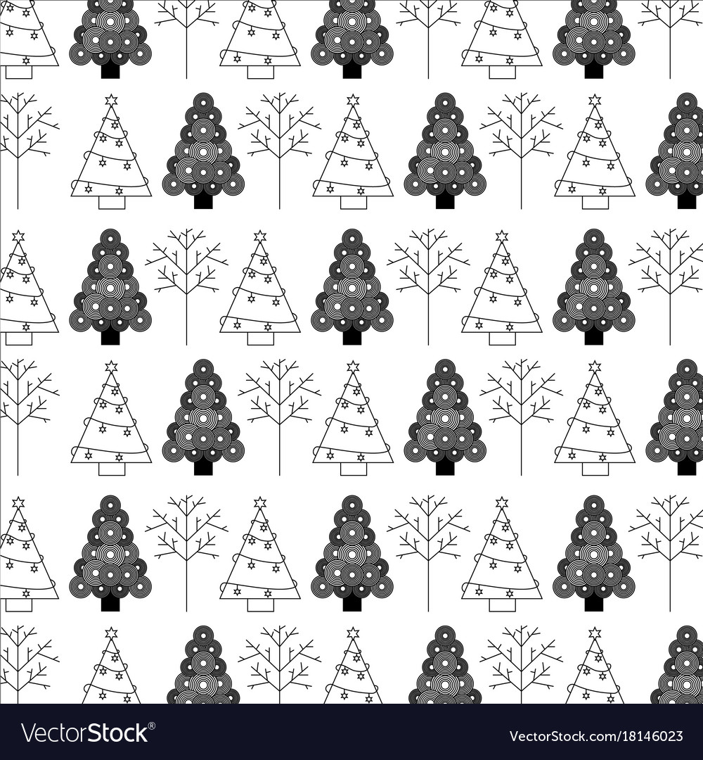 Christmas Tree Decoration Celebration Wallpaper Vector Image
