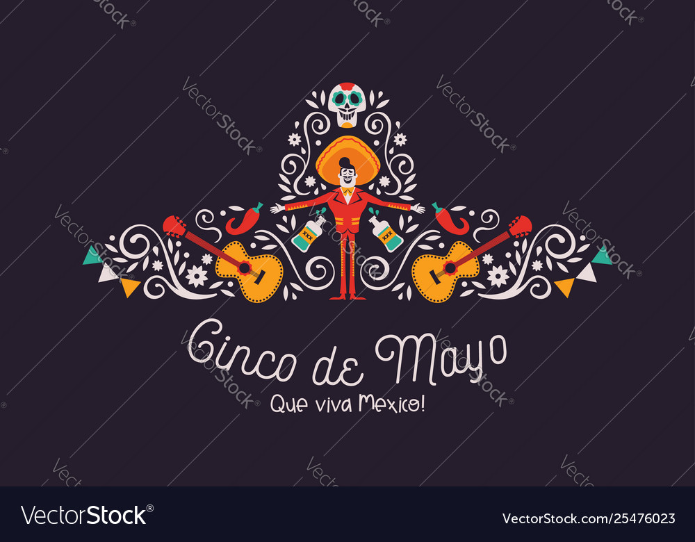 Cinco de mayo mariachi hat card with culture icons