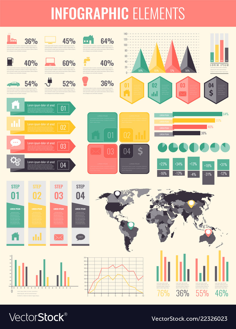 Collection of infographic elements template for