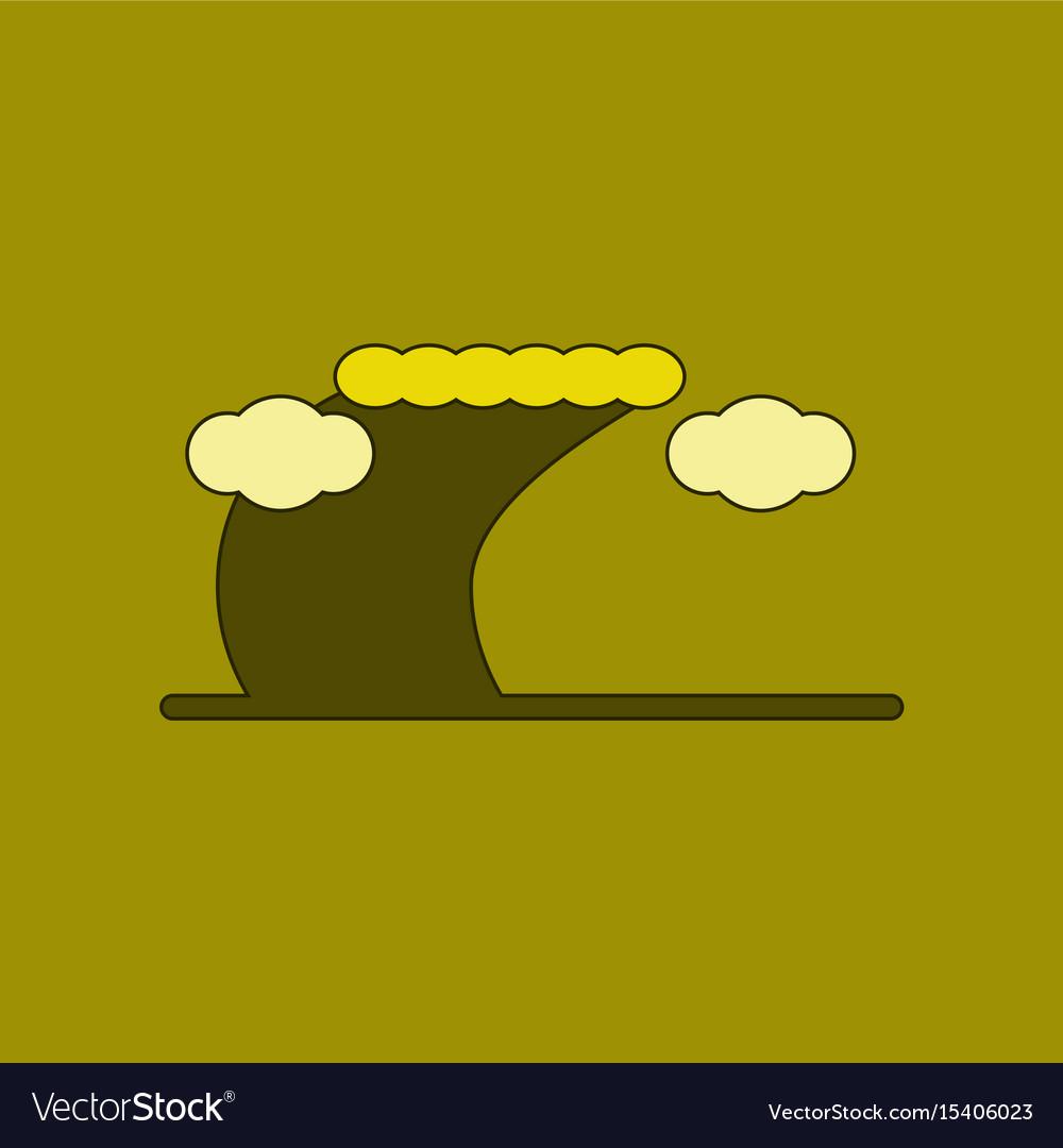Tsunami wave icon in flat style