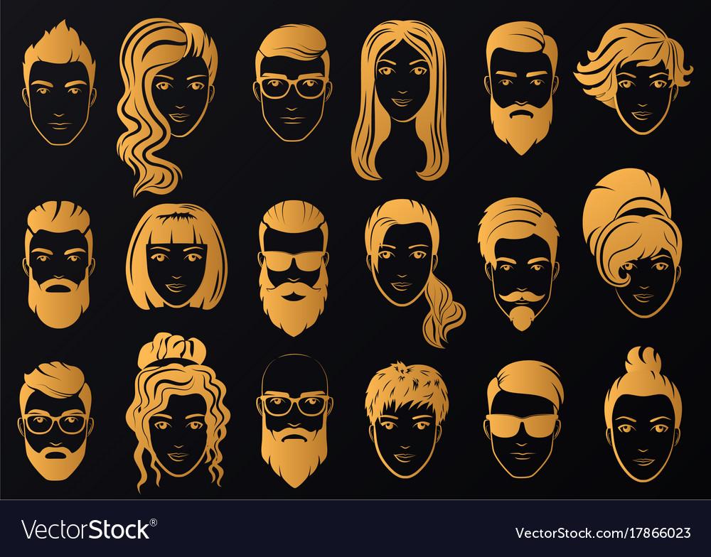 Golden logo of luxury men with stylish vector image