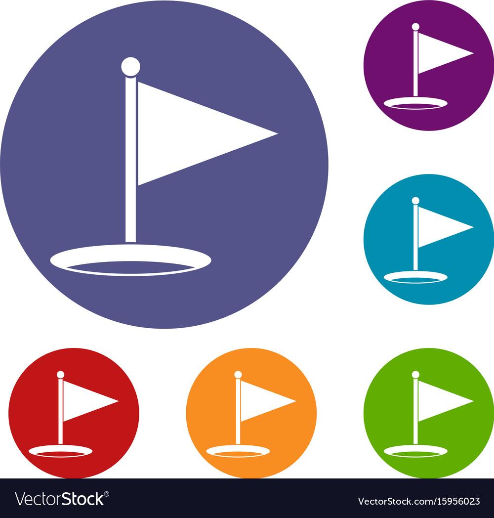 Golf flag icons set vector image