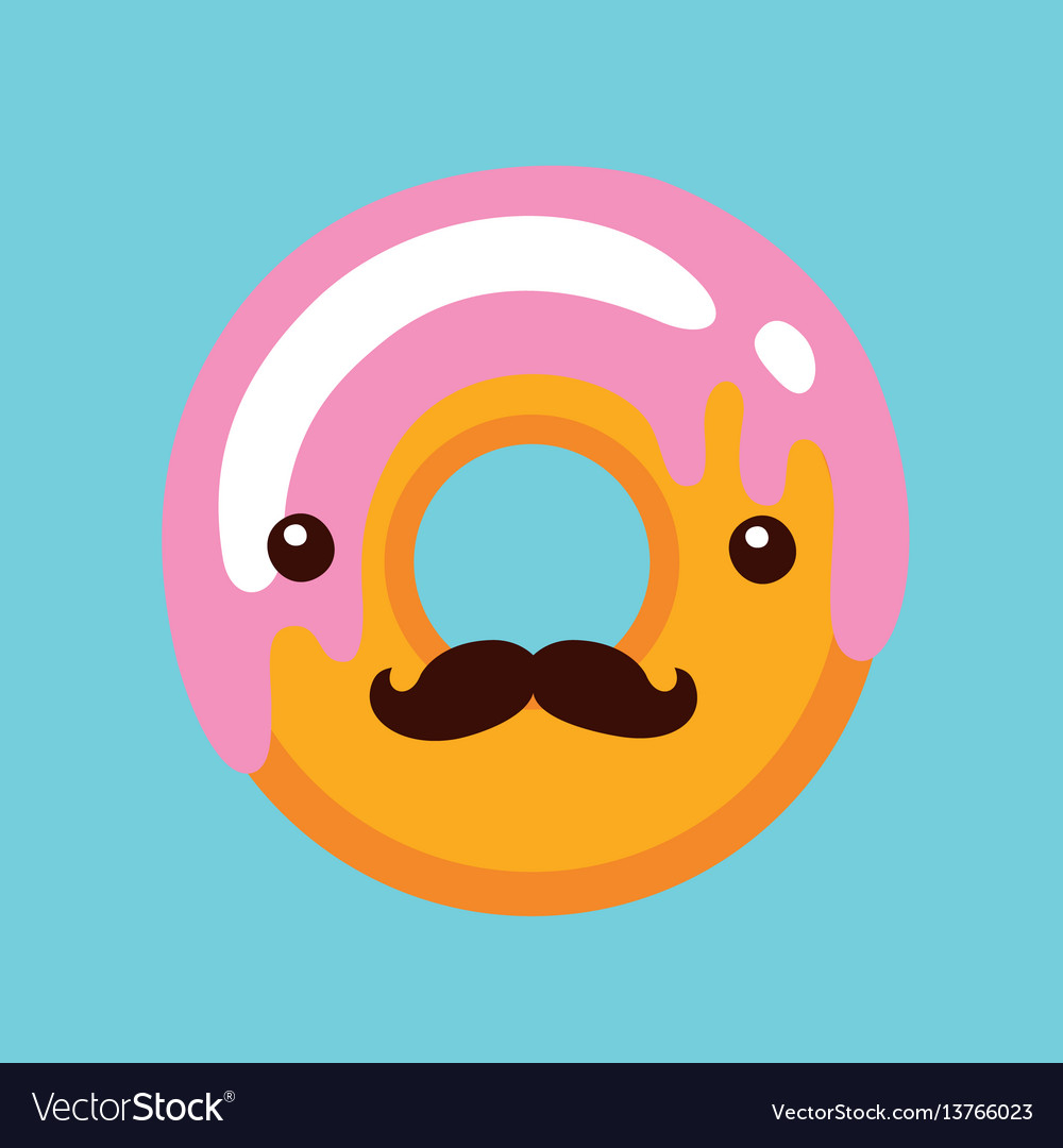 Hipster donut with cute face and mustaches