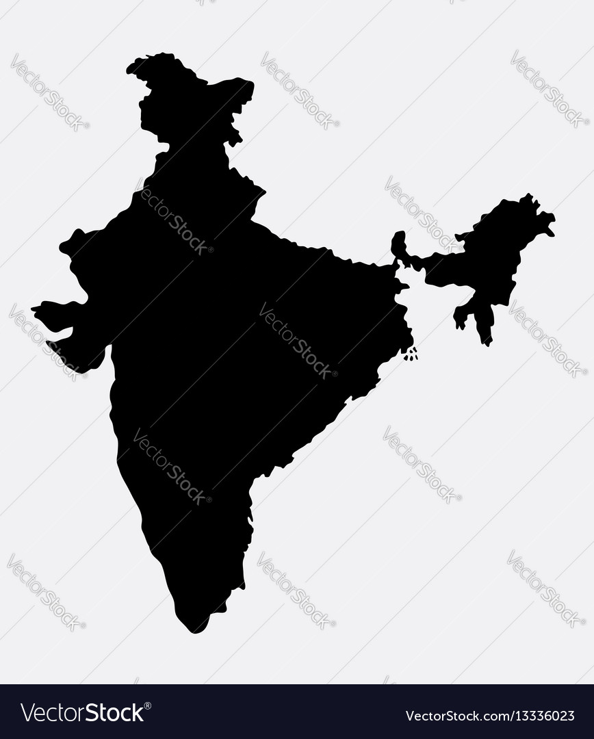 India island map silhouette vector image