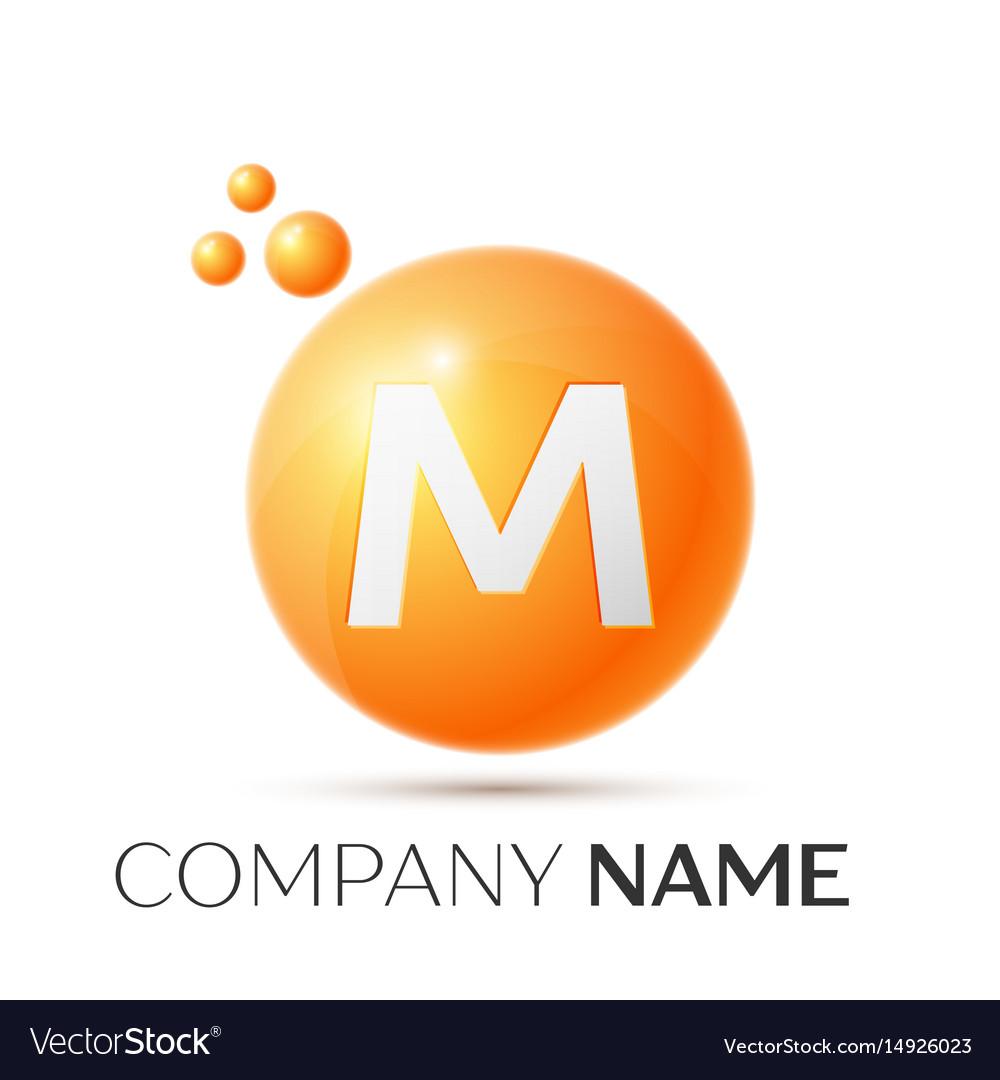 M letter splash orange dots and circle bubble vector image