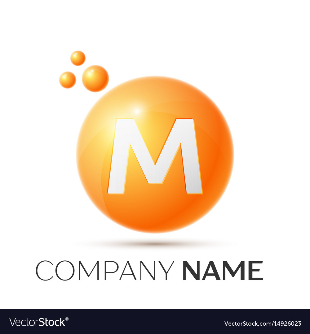 M letter splash orange dots and circle bubble