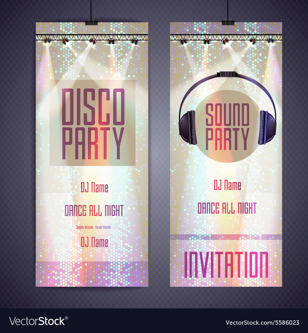 Set of disco background banners Disco party poster