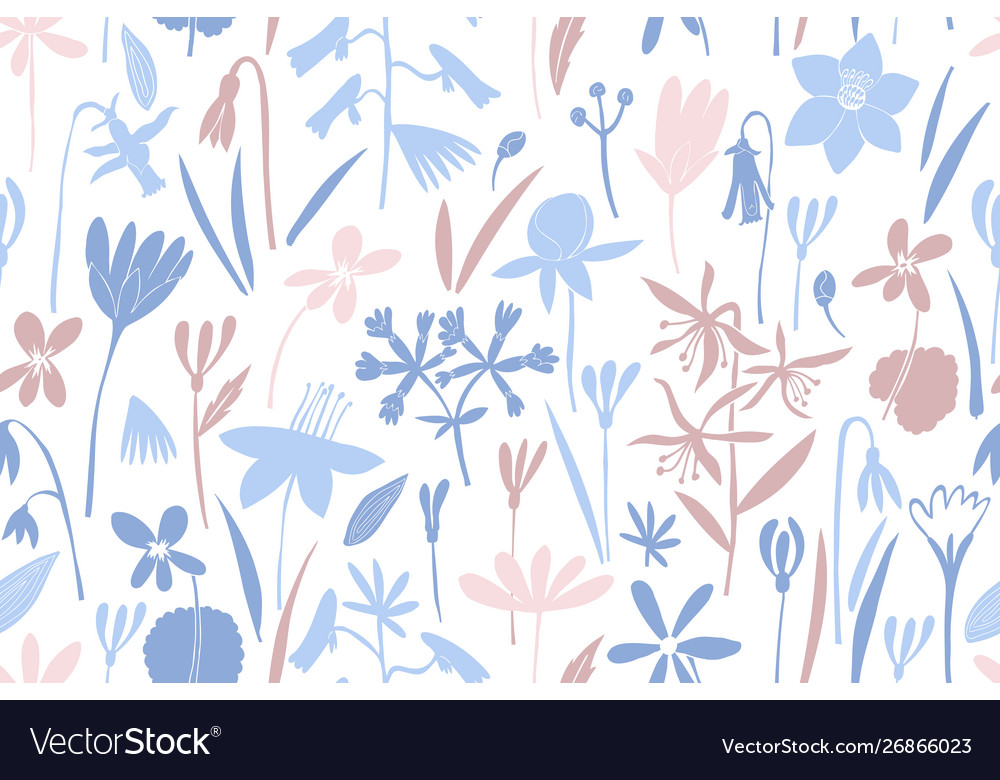 Spring flowers colour seamless pattern