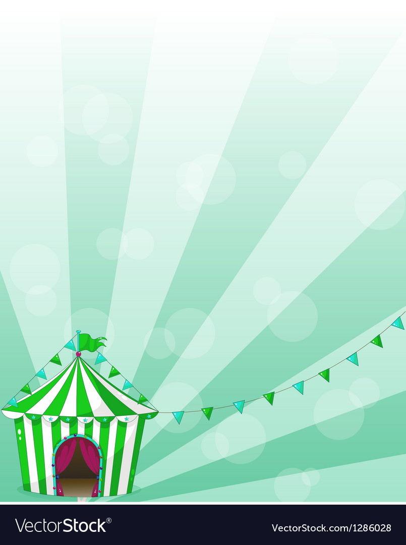 A green circus tent in a wallpaper design
