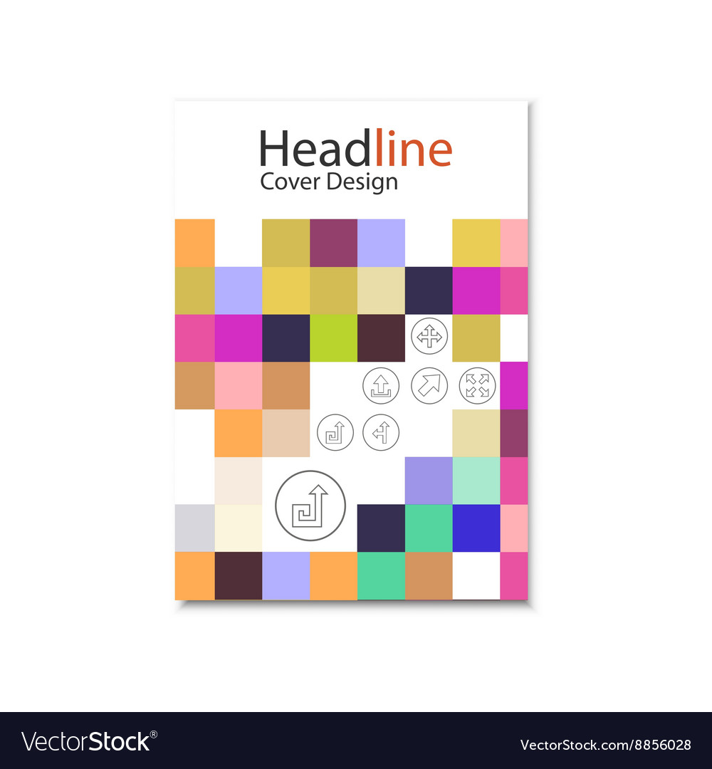 Brochure template design with squares and