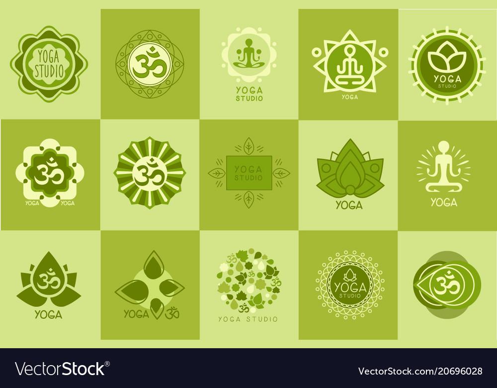 Collection of yoga studio logos design template