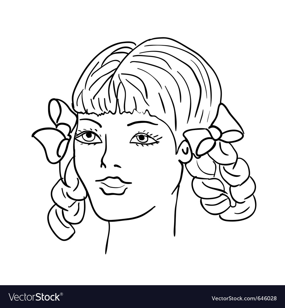 hand drawn fashion model womans face royalty free vector
