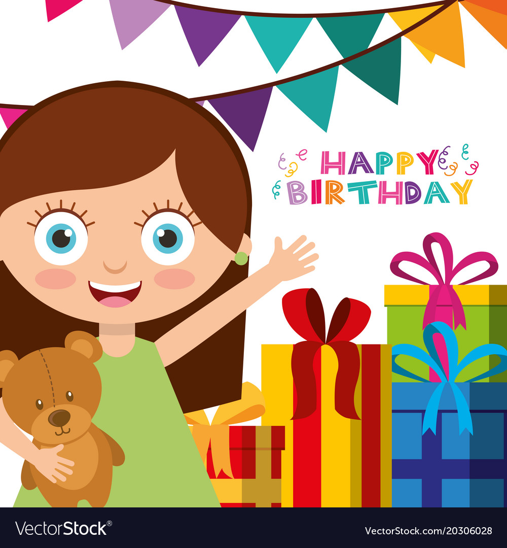 Terrific Happy Birthday Card With Kids Royalty Free Vector Image Funny Birthday Cards Online Fluifree Goldxyz