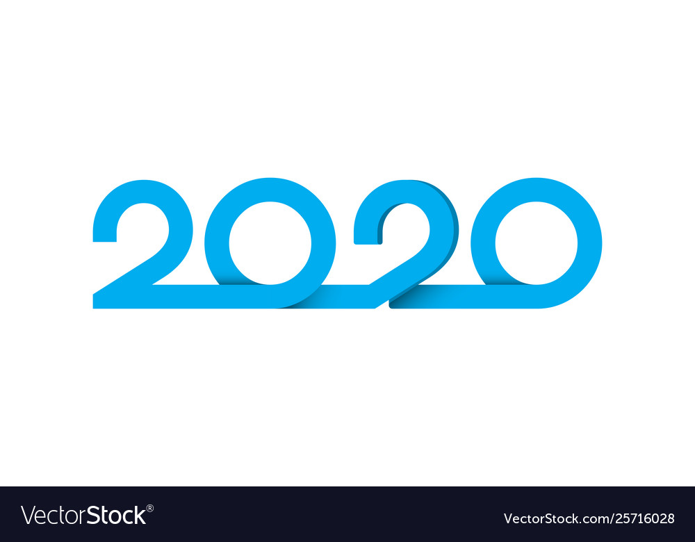 Happy new year 2020 logo text design letters
