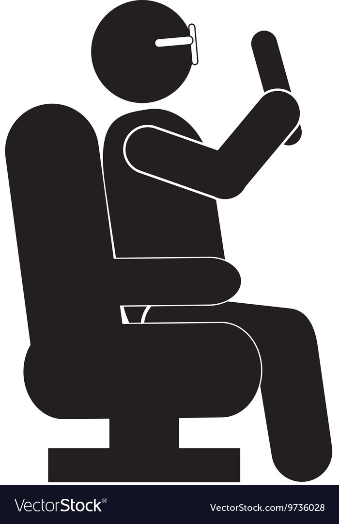 Person sitting down pictogram icon vector image