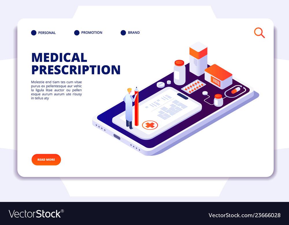 Pharmacy isometric landing page pharmacist and