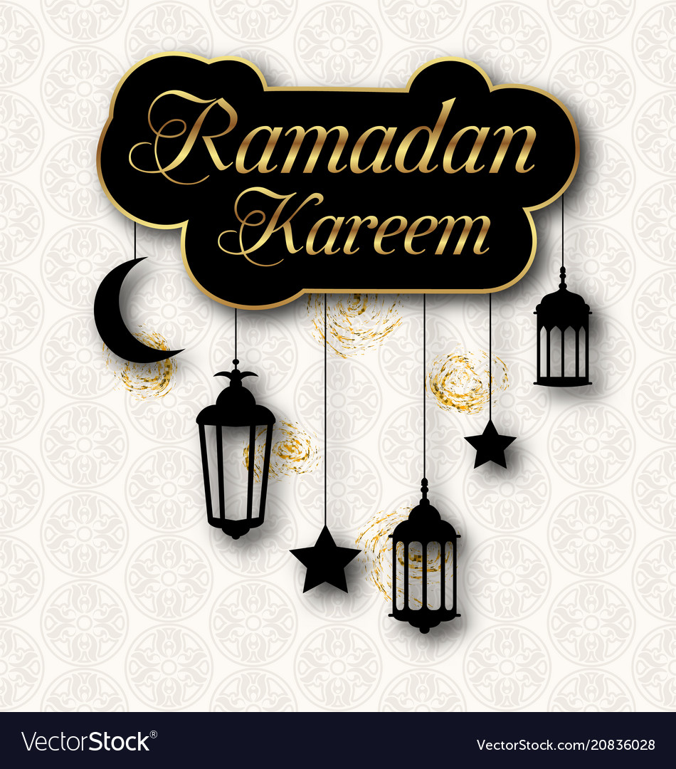 Ramadan kareem greeting card with traditional vector image m4hsunfo