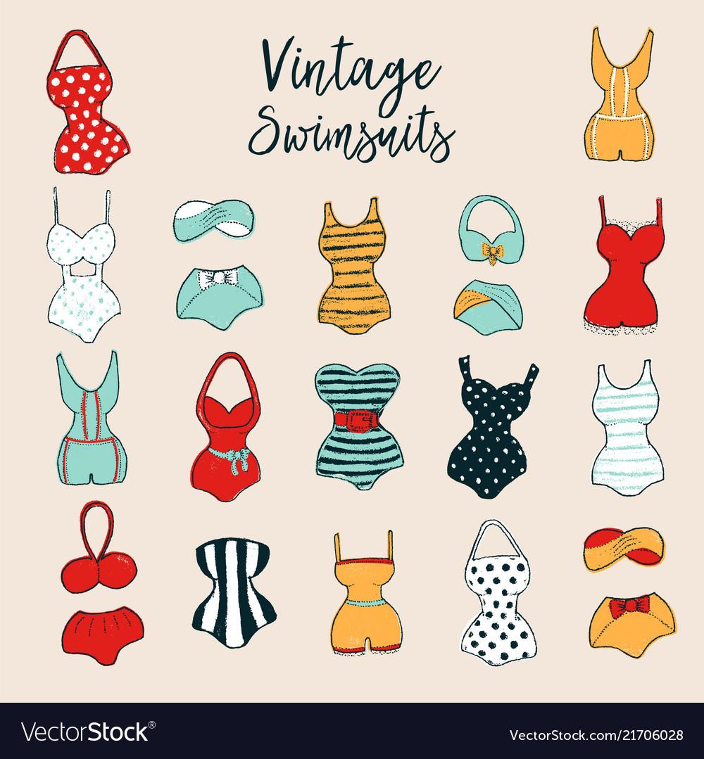 Set of 17 cute stylish hand drawn swimsuits