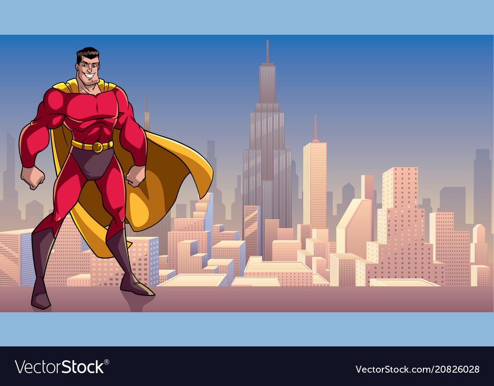 Superhero standing tall in city vector image