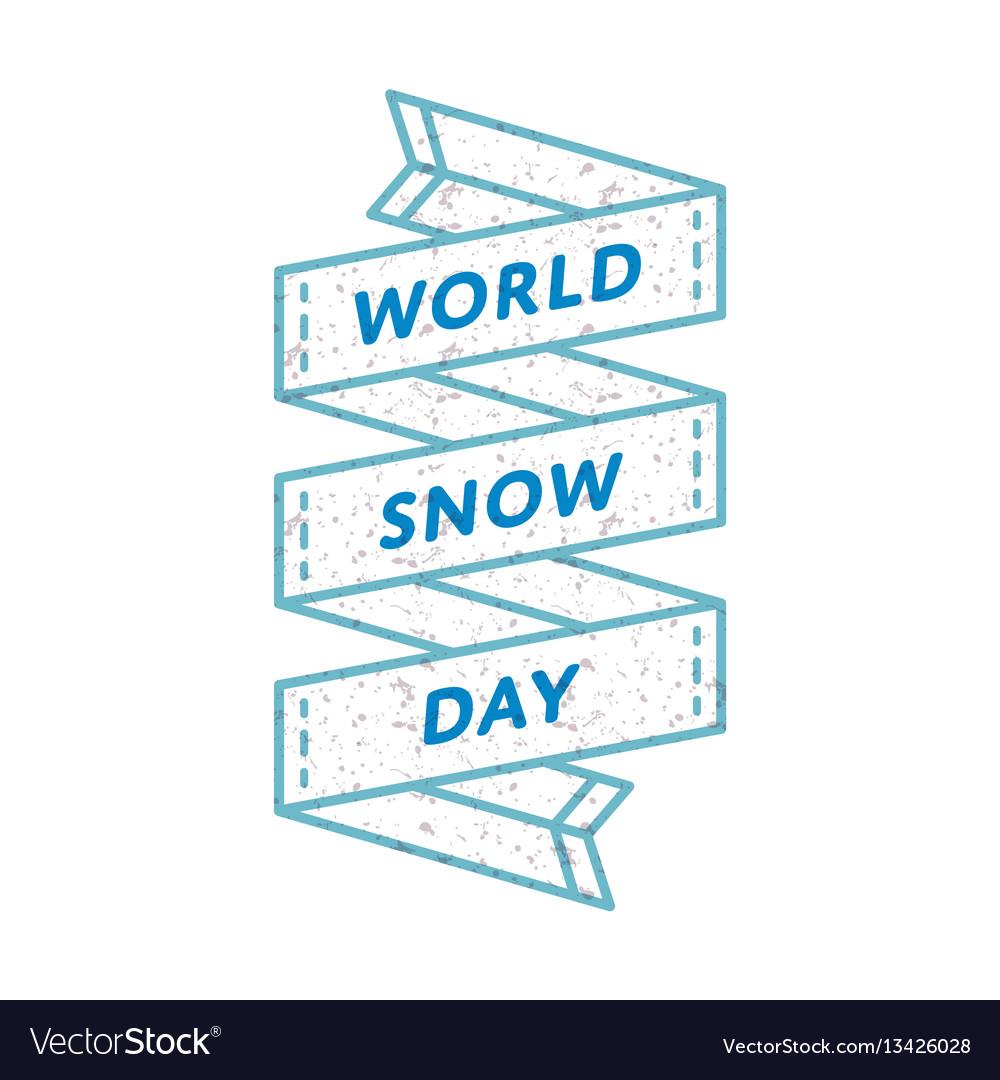 World snow day greeting emblem