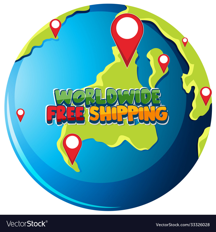 Worldwide free shipping logo on globe