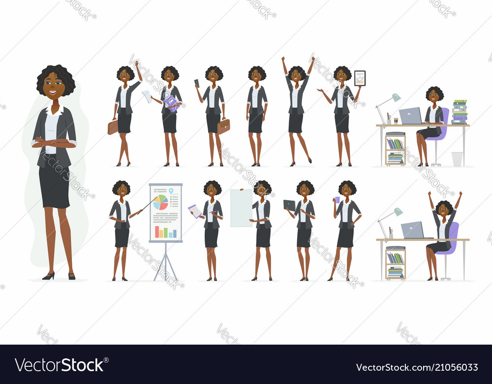 African businesswoman - cartoon people