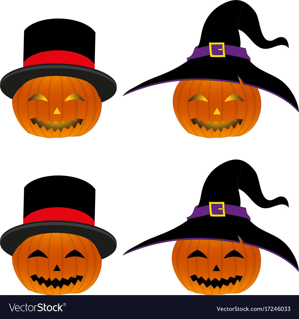 Halloween pumpkin lantern with magician hat and